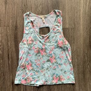 Kirra Floral Tank Top Backless Blue Pink Size XS